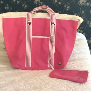 Lacoste pink and white tote bag
